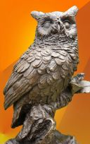 SUPERB  BRONZE OWL, ON A BRANCH, FIGURINE